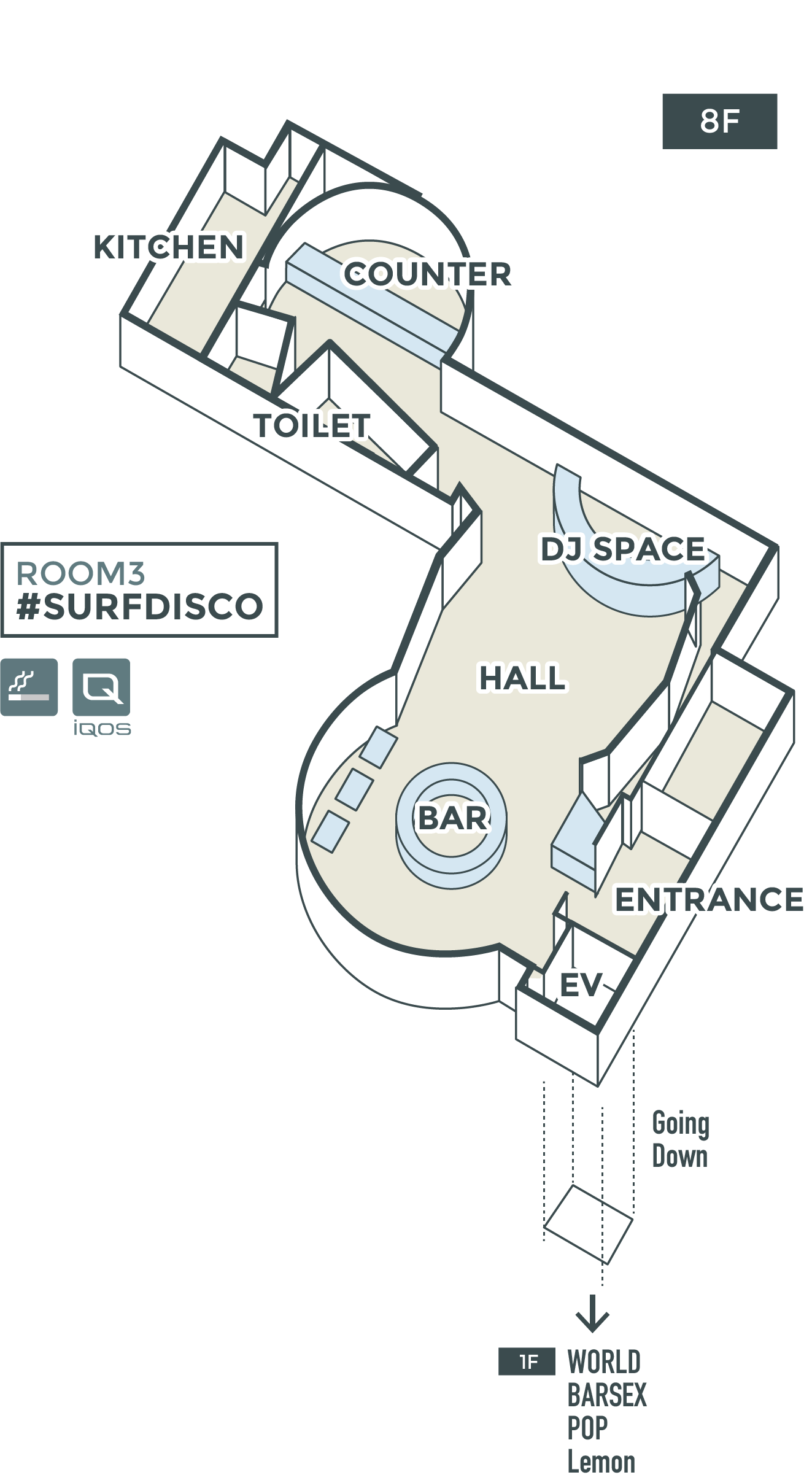 #SURFDISCO FLOORMAP